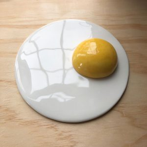 ceramic egg white plate and yellow yolk bowl
